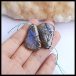 Natural Stone Flashy Labradorite Carved Flower Front Drilled Earring Bead 33x20x3mm 8.5g