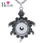 <b>Antique</b> Silver Large Turtle Tortoise Animal DIY Interchangeable Snap Button Pendant Accessory 20″ Chain Necklace <b>Jewelry</b> Charms
