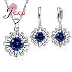 JEXXI 8Colors 925 Sterling Silver Flower <b>Jewelry</b> Set Cubic Zircon Crystal Pendant Necklace Dangle Earrings Sets For Woman Bijoux