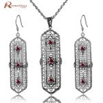 Fashion Wedding Bridal Jewelry Sets Red Stone Crystal Jewelry Set 925 Sterling <b>Silver</b> <b>Earrings</b> Pendant Set Vintage Accessories
