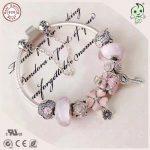 Popular High Quality Gift <b>Jewelry</b> Series Love Pink 925 <b>Sterling</b> <b>Silver</b> Flower Charm Bracelet For Girlfriend