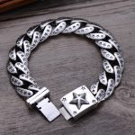 S925 Sterling <b>Silver</b> <b>Jewelry</b> Trendy Boutique Star Men's Thai Vintage High Polish Bracelet & Bangle Fine Craft Star Street
