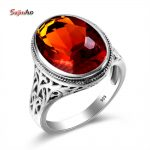 Szjinao 925 <b>Silver</b> Engagement Ring Brown Stone Bohemian Charm Slavic Islam <b>Jewelry</b> Big Rings Fun Gifts For Women Game of Throne