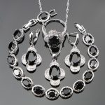 4PCS Jewelry Sets For Women 925 Sterling <b>Silver</b> Wedding Jewelry With Top AAA+ Black CZ White Zirconia Free Jewelry Box