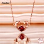 925 Sterling <b>Silver</b> <b>Necklaces</b> Natural Ruby Stone Long Chain Women Pendant <b>Necklace</b> Jewelry Brand Ataullah NWP406