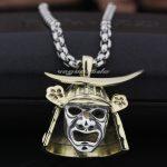 Brass Japanese Samurai Armor 925 Sterling <b>Silver</b> Face Mark Mens Pendant 8Q024(<b>Necklace</b> 24inch)