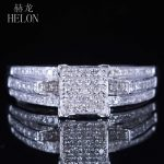 HELON <b>Sterling</b> <b>Silver</b> 925 Engagement Anniversary Pave Natural Diamonds Square Women's Fine Ring Fine <b>Jewelry</b> Wedding Band 0.4ct
