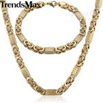 Trendsmax <b>JEWELRY</b> SET 6mm Mens Chain Boys Bracelet Gold Tone Flat Byzantine Link Stainless Steel Necklace Bracelet Set KS165