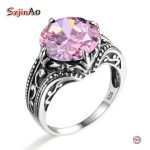 Szjinao Handmade 925 Sterling <b>Silver</b> Vintage Flower Rings For Women Engagement Wedding Pink Zircon Fine <b>Jewelry</b> Valentine's Gift