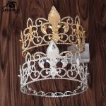 Snuoy Gold/<b>Silver</b> Metal King Crowns Royal Men Full Round Crown Circle Tiara Sword Lily Medieval Male Hair <b>Jewelry</b> Birthday/Party