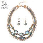 DiLiCa Fashion Women's <b>Jewelry</b> Sets <b>Handmade</b> Layered Crystal Alloy Bib Statement Necklace Earrings Set <b>Jewelry</b> for Ladies