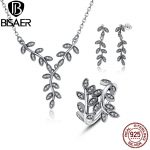 Authentic 100% 925 Sterling Silver Sparkling Leaves Leaf Long Pendant Necklace <b>Jewelry</b> Sets Sterling Silver <b>Jewelry</b> <b>Making</b>