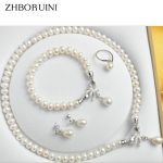 ZHBORUINI Pearl Jewelry Sets Natural Freshwater 925 Sterling <b>Silver</b> Jewelry Bow Pearl Necklace Earrings <b>Bracelet</b> For Women Gift