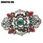 Latest Crystal Turkish Flowers Brooch For Women Vintage <b>Jewelry</b> <b>Antique</b> Gold CZ Zircon Accessories Delicate Gifts Girl Badge Pin