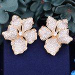 GODKI 45mm Begonia Flowers Trendy Cubic Zirconia American <b>Wedding</b> Party Earring <b>Jewelry</b> for Women