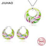 2018 <b>Jewelry</b> Set round shape Colorful ribbons Wedding <b>Jewelry</b> Sets Clear CZ Stones Earrings Pendant Set 925 Sterling Silver gift