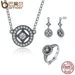 BAMOER Genuine 925 Sterling Silver <b>Jewelry</b> Set Classic Vintage Allure CZ Bridal <b>Jewelry</b> Sets Sterling Silver <b>Jewelry</b> ZHS032