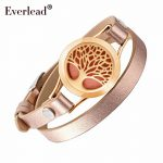 EVERLEAD Wrap Bracelets for Women Rose Gold color tree of life leather bracelet aromatherapy perfume diffuser bangle <b>jewelry</b>