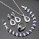 Heart Blue Zircon Silver 925 Costume <b>Jewelry</b> Sets Wedding Women Bracelets <b>Necklaces</b> Rings Earring With Stones Set Gift Box