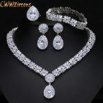 CWWZircons 4 Piece Super Sparkling Cubic Zirconia Stone Fashion African Nigerian Women <b>Wedding</b> <b>Jewelry</b> Set For Brides T054