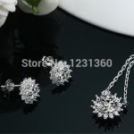 Fashion Wedding Bridal Jewelry Set 925 Stamped <b>Silver</b> Necklace <b>Earrings</b> Sets for Women,High Quality Austrain Cubic Zirconia