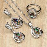 925 Silver <b>Jewelry</b> Mystic Rainbow Fire Stones White CZ <b>Jewelry</b> Sets For Women Wedding Necklace/Earrings/Pendant/Ring 3PCS
