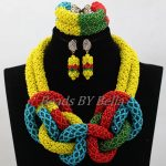 <b>Handmade</b> African Wedding Beads Multicolor Crystal <b>Jewelry</b> Set Women Statement Necklace Bridal <b>Jewelry</b> Sets Free Shipping ABL138