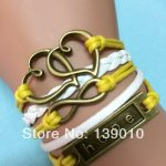 New Designer White Yellow Leather Rope Cuff Charm Bracelet Trendy <b>Native</b> <b>American</b> Heart Hope Infinity Men Costume Dress <b>Jewelry</b>
