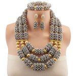 2018 Fashion Dubai <b>Silver</b> Color Jewelry Sets Costume Copper Beads Design Nigerian Wedding African Beads Jewelry Sets