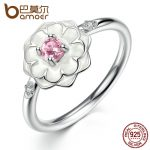 BAMOER Popular Party Finger Rings White Flower Pink Stone 925 Sterling Silver Ring for Women Fine <b>Jewelry</b> Size 6,7,8 PA7177