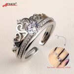 Arvato 925 Sterling Silver Rings for Women Zircon CZ Adjustable Finger Crown Ring Set Female Bride Wedding <b>Jewelry</b>