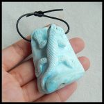 Best Gift!!!Sale Natural Stone Larimar Carved Animal Lizard Front Drilled <b>Necklace</b> Pendant 53x41x19mm 51.98g