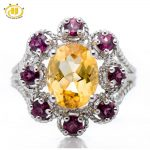 Hutang Natural Golden Citrine & Rhodolite Garnet Solid 925 Sterling <b>Silver</b> Rose Ring Fine Stone <b>Jewelry</b> Women's Party Cocktail