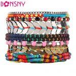 Bonsny Luxury Bohemia Bead Handmade Bracelet For Women Brand Bangle Weave Sequins <b>Fashion</b> Bracelets 2016 News <b>Jewelry</b> For Girl