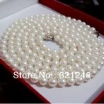 Charming akoya freshwater white 6-7mm noble round pearl European classical necklace <b>Jewelry</b> <b>making</b> 36 inch GE4511