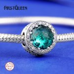FirstQueen Solid 925 Silver Radiant Hearts Charm Green Crystal Bead Fits bracelet charme argent 925 <b>supplies</b> for <b>jewelry</b>