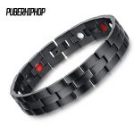 Good Quality Healing FIR Magnetic Titanium Bio Energy Bracelets Bangles 22cm Width Black Therapy Bracelet Male Gift <b>Jewelry</b>
