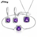 MoBuy 3PCS Jewelry Sets Natural Gemstone Square Amethyst 100% 925 Sterling <b>Silver</b> S925 Fine Jewelry For Women Wedding V001EHN