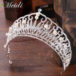 MEIDI Tiaras Crown Headband Crystal Pearl Rhinestone Tiara Crowns Hair Band <b>Jewelry</b> Silver Color Bridal Hair Accessories