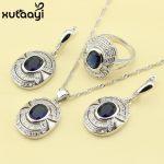 Superb Blue Cubic Zirconia White Stones,925 Silver Bridal Wedding <b>Fashion</b> Health <b>Jewelry</b> Set Earrings Necklace Pendant Rings