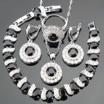 Cubic Zirconia Bridal <b>Silver</b> 925 Costume Jewelry Sets Stone Earrings For Women <b>Bracelets</b> Rings Pendant Necklace Set Gift Box