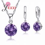 JEXXI Trendy 925 Sterling Silver Pendant Necklace Earrings Sets For Women Girl Austrian Crystal Bridal <b>Jewelry</b> Sets Wedding Gift