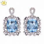 Hutang 6.79 ct Natural Gemstone Sky Blue Topaz Solid 925 <b>Sterling</b> <b>Silver</b> Romantic Earrings Fine Stone <b>Jewelry</b> For Women's Gift