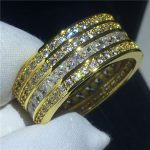 <b>Handmade</b> Round ring Yellow Gold Filled 925 silver 5A Sona Cz Engagement wedding band rings for women Bridal Finger <b>Jewelry</b>