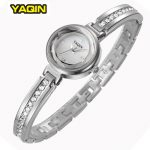 Elegant <b>Silver</b> Rhinestone Women Watch Brand YAQIN Slim <b>Bracelet</b> Ladies Casual Clock Fashion Wristwatch Summer Watches New 2016
