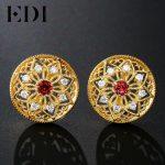 EDI Woman Natural Garnet Stud <b>Earrings</b> 925 Sterling <b>Silver</b> European Pattern Vintage Fine Jewelry Big Round <b>Earring</b> For Women