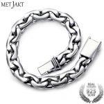 MetJakt Classic Simple Handmade 9mm width <b>Silver</b> <b>Bracelet</b> Solid 925 Sterling <b>Silver</b> <b>Bracelet</b> for Women and Men's Fine Jewelry