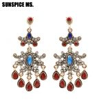 SUNSPICE MS. Indian Vintage Earrings Resin <b>Antique</b> Gold Color Ethnic Bridal Indian <b>Jewelry</b> Long Drop Resin Dangle Earrings Gift