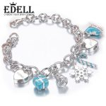 EDELL 925 Sterling <b>Silver</b> Luxury Heart-shaped Cute <b>Bracelets</b> Tiff Style Fashion Women Charm Jewelry Lady Gifts Free Shipping