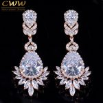 CWWZircons Top Quality Cubic Zirconia Rose Gold Color Big Long Dangle Drop Bridal Wedding Earrings <b>Jewelry</b> For Women CZ151